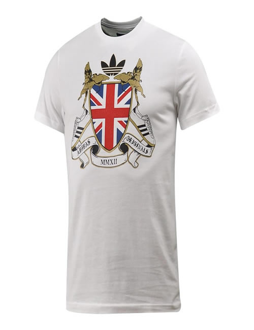 e13d368f Mens Adidas Tshirt - Originals - British Shield Gothic - White