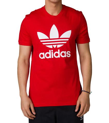 Men s Adidas Originals T-Shirt - Trefoil Tee - Red  1b28f0e8166b