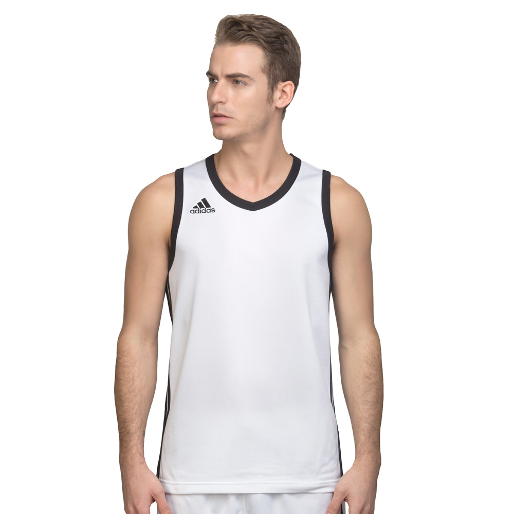 Men's Adidas Vest - Commander Basketball Jersey - White & Black