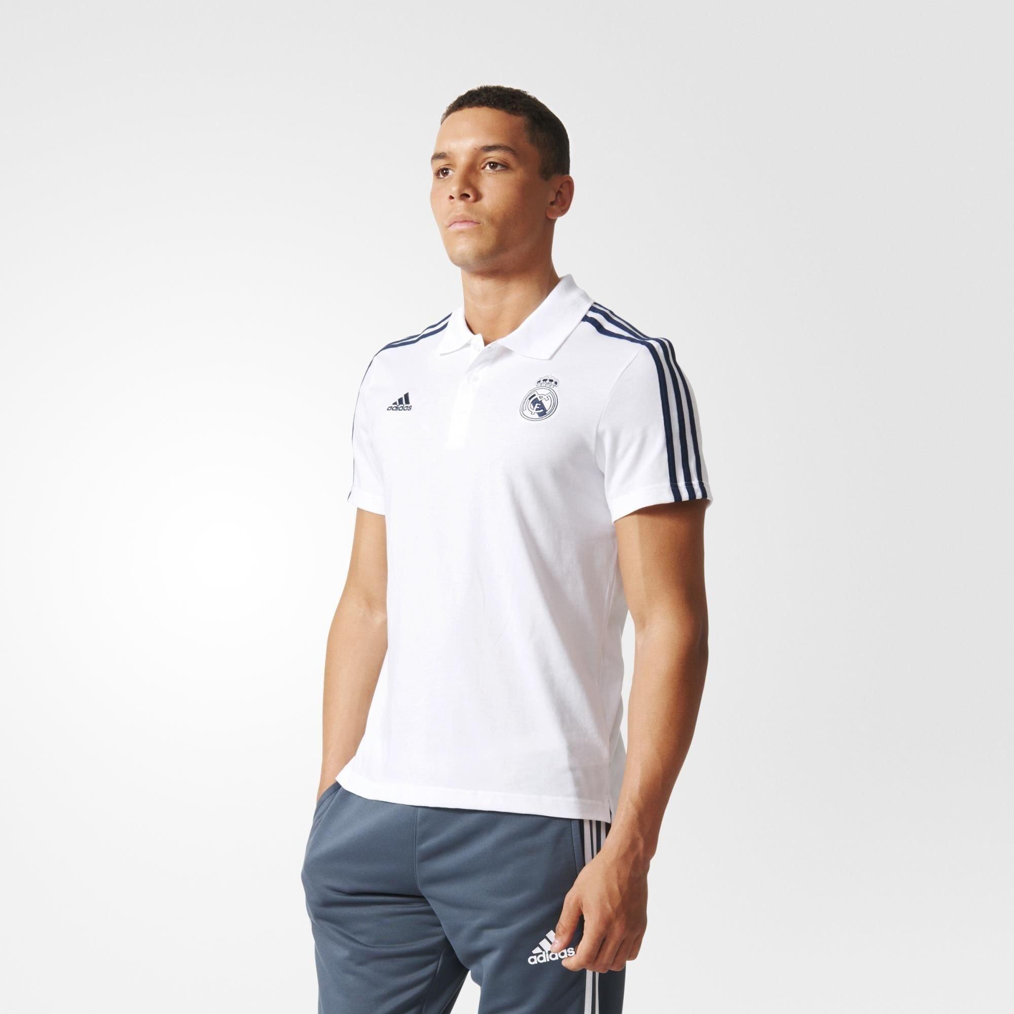 Men s Adidas T-Shirt - Real Madrid FC 3S Polo Tee - White ... 517749fbf