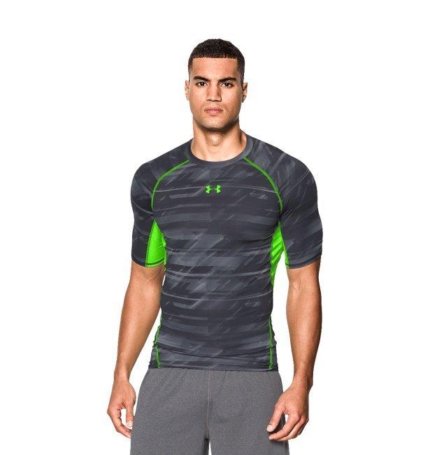 Men s Under Armour Compression T-Shirt - UA Printed SS Top - Grey   Green c2d4801e5833